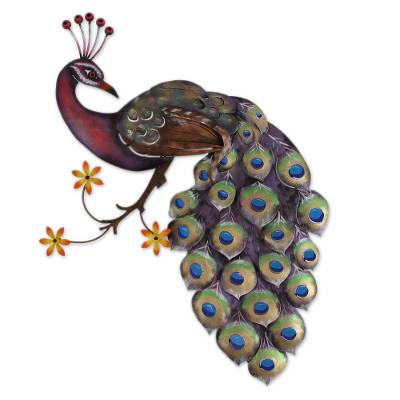 Steel wall sculpture, 'Sunset Peacock' - Steel Wall Sculpture of a Peacock from Mexico