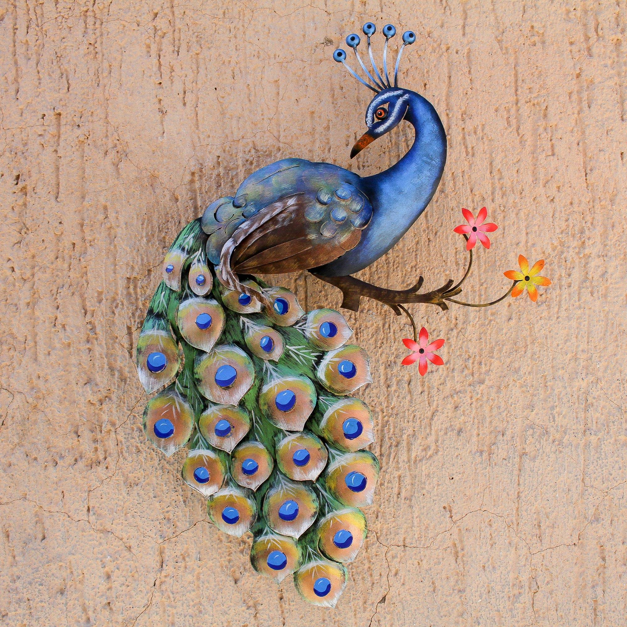 Floral Steel Peacock Wall Sculpture From Mexico Peacock And Flowers Novica