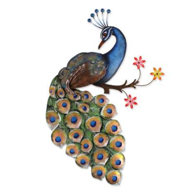 Steel wall sculpture, 'Peacock and Flowers' - Floral Steel Peacock Wall Sculpture from Mexico