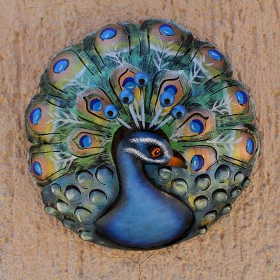 Steel wall sculpture, Round Peacock