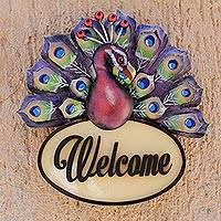 Steel and wood wall sign, 'Welcoming Peacock' - Burgundy Peacock Steel and Wood Welcome Sign from Mexico