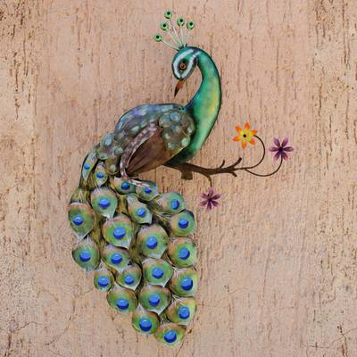 Artisan Crafted Steel Peacock Wall Sculpture from Mexico, 'Flaunting  Peacock'