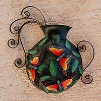 Steel wall sculpture, 'Monarch Vase' - Butterfly-Themed Steel Wall Sculpture from Mexico