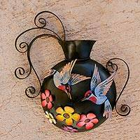 Steel wall sculpture, 'Hummingbirds and Flowers' - Floral Hummingbird Steel Wall Sculpture from Mexico