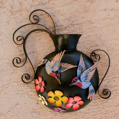 Steel wall sculpture, 'Hummingbirds and Flowers' - Floral Hummingbird Steel Wall Sculpture from Mexico