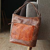 Leather tote, 'Fashionable Brown' - Handmade Leather Tote in Brown from Mexico
