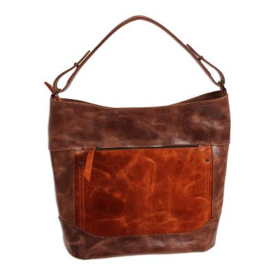 Handmade Leather Tote in Brown from Mexico