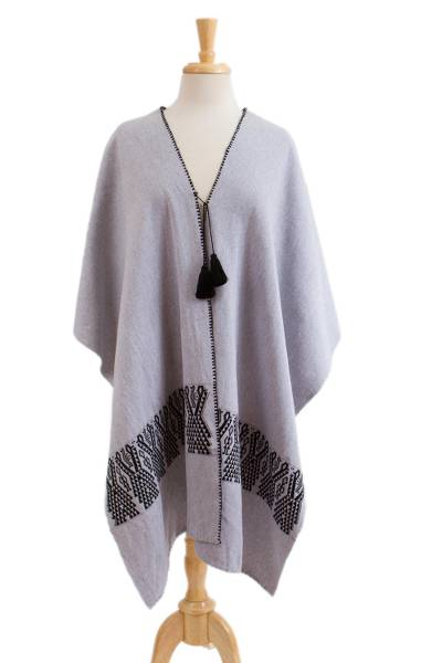 Geometric Cotton Ruana in Ash and Black from Mexico