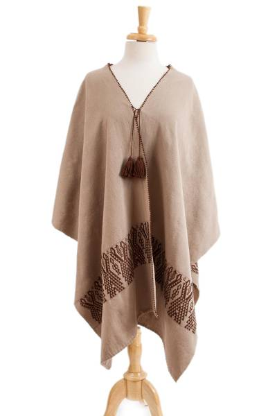 Geometric Cotton Ruana in Taupe and Mahogany from Mexico