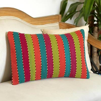 Zapotec wool cushion cover, 'Stripes of the Rainbow' - Rainbow Striped Handwoven Wool Cushion Cover from Mexico