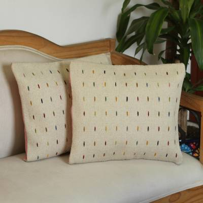 Zapotec wool cushion covers, 'Rain on the Desert' (pair) - Handwoven Ivory Zapotec Wool Cushion Covers (Pair)