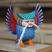 Wood alebrije sculpture, 'Mythic Owl' - Hand-Carved Alebrije Owl Sculpture from Mexico