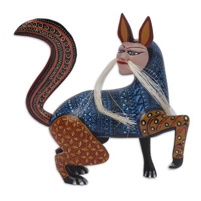 Wood alebrije sculpture, 'Mythic Fox' - Hand-Carved Wood Alebrije Fox Sculpture from Mexico