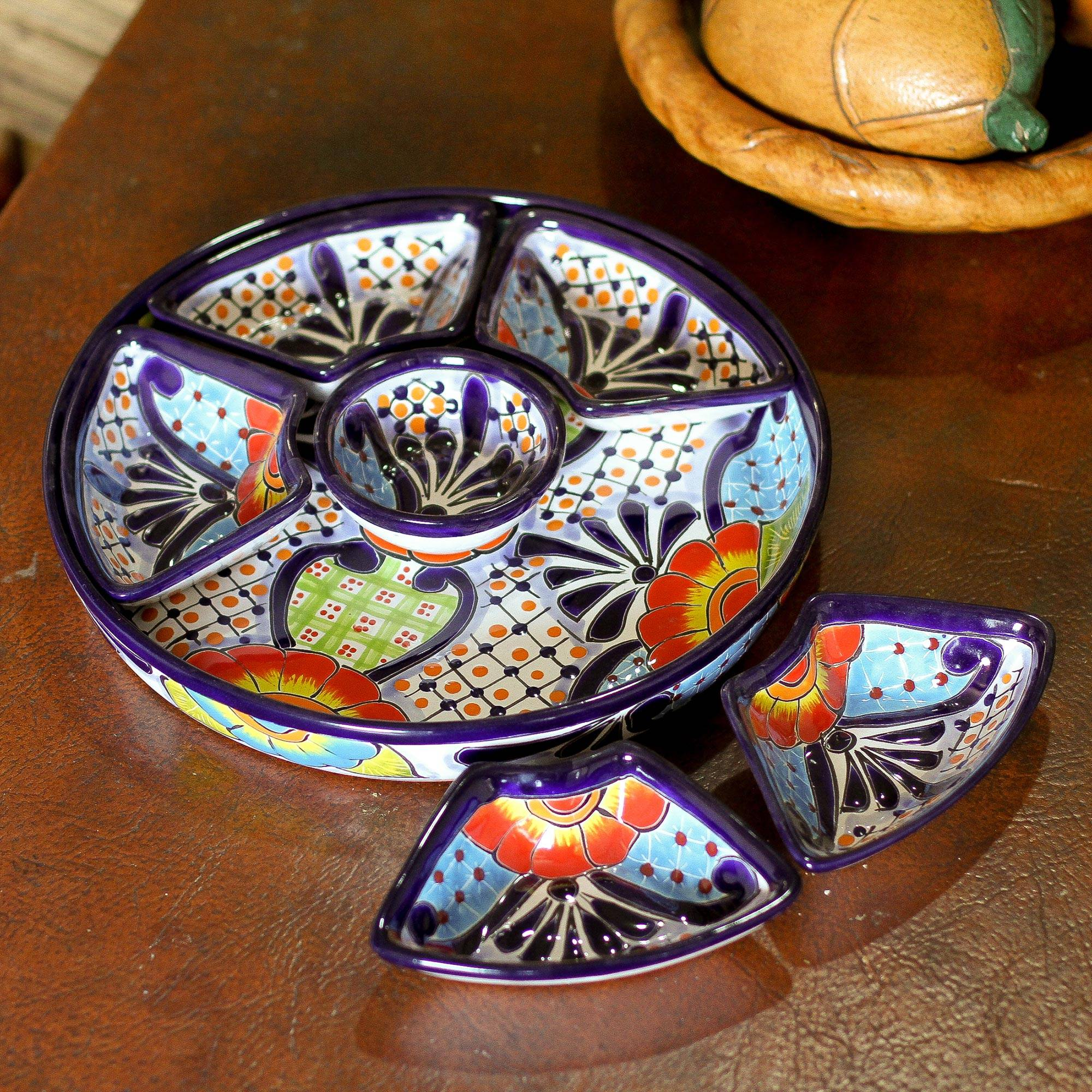 Talavera Style Appetizer Bowl Set From Mexico 7 Piece Festive Flowers Novica