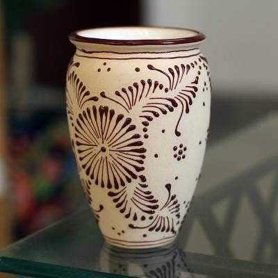 Ceramic vase, 'Maroon Bouquet' - Floral Talavera-Style Ceramic Vase in Maroon from Mexico