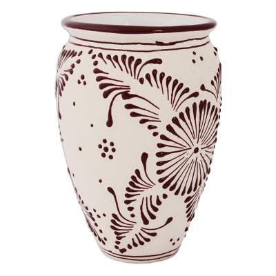Superb Floral Talavera Ceramic Vase In Maroon From Mexico Maroon Bouquet Machost Co Dining Chair Design Ideas Machostcouk