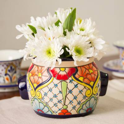 Ceramic crock, 'Floral Michoacan' - Colorful Talavera Ceramic Crock Crafted in Mexico