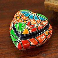 Ceramic decorative box, 'Floral Heart' - Heart-Shaped Talavera-Style Ceramic Decorative Box