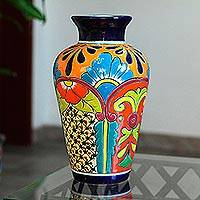 Ceramic vase, 'Floral Display' - Talavera-Style Ceramic Vase Crafted in Mexico