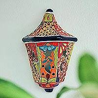 Ceramic wall sconce, 'Cosmic Floral' - Hand-Painted Talavera Ceramic Wall Sconce from Mexico