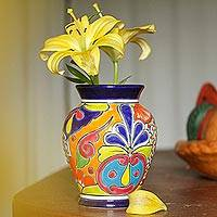 Ceramic vase, 'Talavera Bouquet' - Hand-Painted Talavera Ceramic Vase Crafted in Mexico