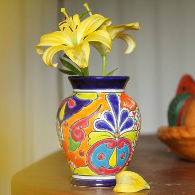 Ceramic vase, 'Talavera Glory' - Hand-Painted Talavera-Style Ceramic Vase Crafted in Mexico