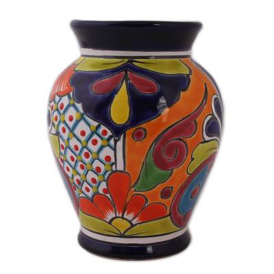 Ceramic vase, 'Talavera Glory' - Hand-Painted Talavera-Style Ceramic Vase Crafted in Mexico