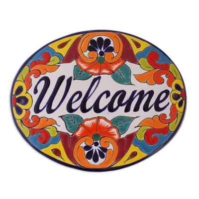 Ceramic wall sign, 'Talavera Welcome' - Floral Talavera-Style Ceramic Welcome Wall Sign from Mexico