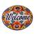 Ceramic wall sign, 'Talavera Welcome' - Floral Talavera-Style Ceramic Welcome Wall Sign from Mexico (image 2a) thumbail