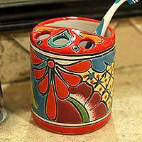 Ceramic toothbrush holder, 'Talavera Hygiene' - Round Talavera Ceramic Toothbrush Holder Crafted in Mexico