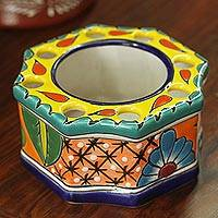 Ceramic toothbrush holder, 'Talavera Octagon' - Octagonal Talavera Ceramic Toothbrush Holder from Mexico