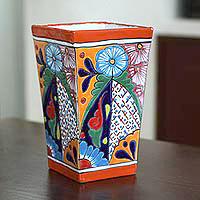 Ceramic vase, 'Talavera Symmetry' - Hand-Painted Talavera Ceramic Vase Crafted in Mexico