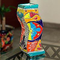 Ceramic vase, 'Wavy Talavera' - Wavy Talavera-Style Ceramic Floral Vase from Mexico