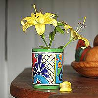 Ceramic vase, 'Colorful Bouquet' - Cylindrical Talavera Ceramic Vase from Mexico