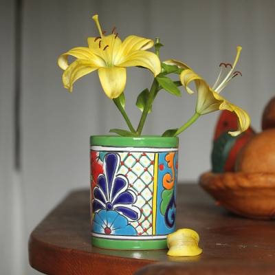 Ceramic vase, 'Colorful Bouquet' - Cylindrical Talavera-Style Ceramic Vase from Mexico