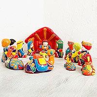 Ceramic nativity scene, 'Talavera Nativity' (16 piece) - Talavera Ceramic Nativity Scene from Mexico (16 Piece)