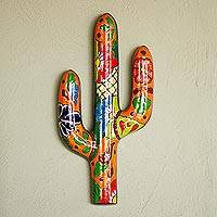 Ceramic wall sculpture, 'Desert Saguaro' - Floral Cactus Talavera Ceramic Wall Sculpture from Mexico