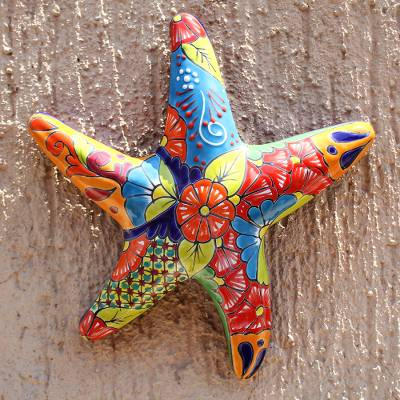 Ceramic wall sculpture, 'Talavera Starfish' - Hand-Painted Talavera-Style Ceramic Starfish Wall Sculpture