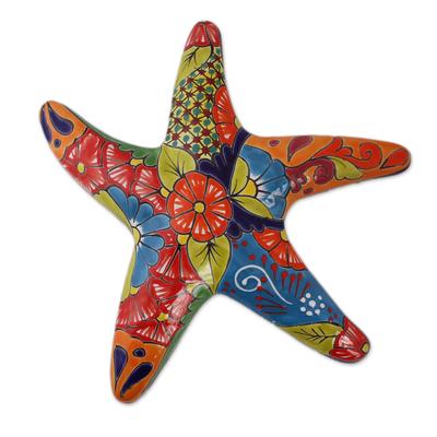 Ceramic wall sculpture, 'Talavera Starfish' - Hand-Painted Talavera-Style Ceramic Starfish Wall Sculpture