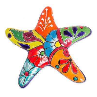 Ceramic wall sculpture, 'Hacienda Starfish' - Talavera-Style Ceramic Starfish Wall Sculpture from Mexico