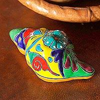 Ceramic sculpture, 'Talavera Conch' - Talavera Style Ceramic Conch Sculpture from Mexico