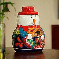 Ceramic candle holder, 'Snowman Glow' - Snowman Talavera Ceramic Candle Holder from Mexico