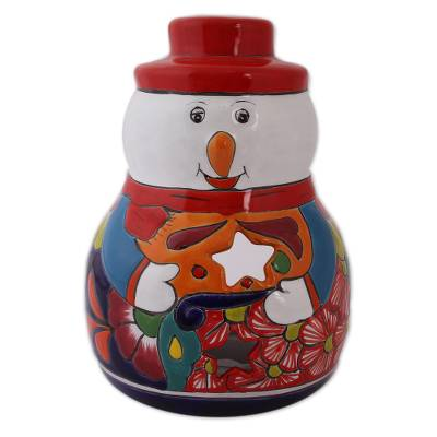 Snowman Talavera Ceramic Candle Holder from Mexico
