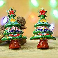 Ceramic ornaments, 'Talavera Celebration' (pair) - Floral Ceramic Christmas Tree Ornaments from Mexico (Pair)