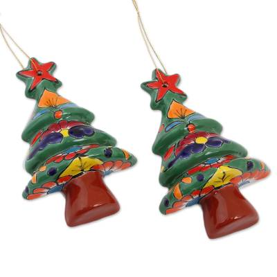 Floral Ceramic Christmas Tree Ornaments from Mexico (Pair)