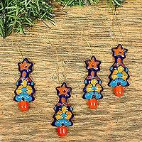 Ceramic ornament, 'Talavera Christmas Trees' (set of 4) - Christmas Tree Talavera Ceramic Ornaments (Set of 4)