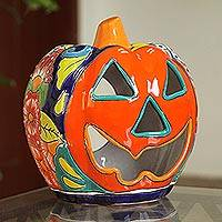 Ceramic candle holder, 'Jolly Jack-O-Lantern' - Floral Jack-O-Lantern Talavera Ceramic Candle Holder