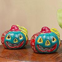 Ceramic tealight holders, 'Bright Jack-O-Lantern' (pair) - Jack-O-Lantern Talavera Ceramic Tealight Holders (Pair)