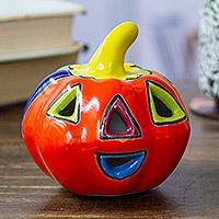 Ceramic figurine, 'Talavera Jack-O-Lantern' - Talavera-Style Ceramic Jack-O-Lantern Figurine from Mexico