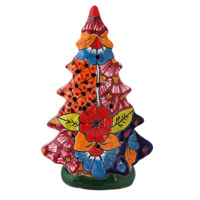 Christmas Tree Talavera Ceramic Lantern from Mexico